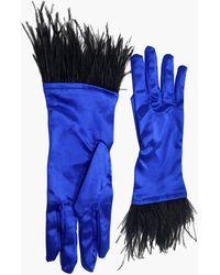 NARCES Ostrich Feather Cobalt Satin Gloves - Blue