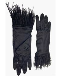 NARCES Ostrich Feather Black Satin Gloves