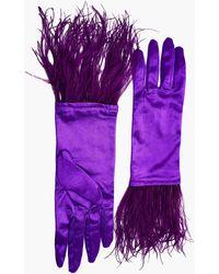 NARCES Ostrich Feather Byzantium Satin Gloves - Purple