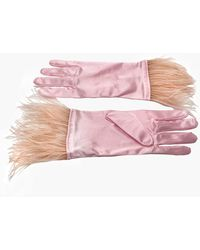 NARCES Ostrich Feather Rose Pink Satin Gloves