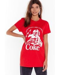 Nasty Gal Holidays Are Coming Coke Graphic Tee - Red