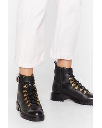 Nasty Gal D-ring 'em Out Leather Hiker Boots - Black