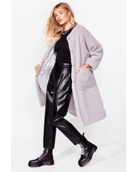 Nasty Gal Teddy And Raring To Go Faux Shearling Coat - Purple