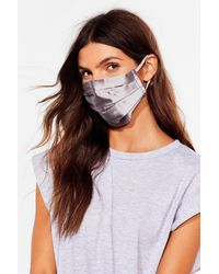 Nasty Gal Pleat Me In The Middle Fashion Face Mask - Grey