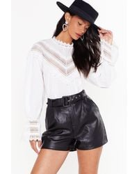 """Nasty Gal """"faux Leather They Like It Or Not High-waisted Shorts"""" - Black"""