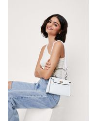 Nasty Gal Faux Leather Croc Structured Crossbody Bag - White