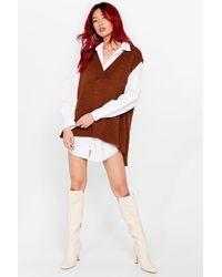 Nasty Gal Oversized V Neck Jumper Vest - Brown