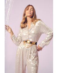 Nasty Gal Spotlight Worthy Sequin Shirt - Metallic