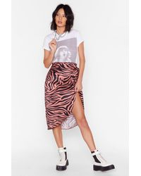 "Nasty Gal ""high-waisted Jacquard Rose Split Midi Skirt"" - Red"