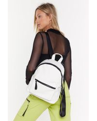"""Nasty Gal """"want Croc You Got To Say Faux Leather Backpack"""" - White"""