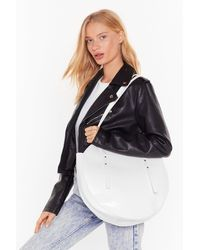 """Nasty Gal """"want Goin' Round In Circles Croc Tote Bag"""" - White"""