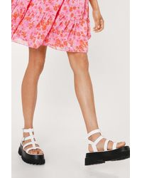 Nasty Gal Faux Leather Caged Cleated Platform Sandals - White