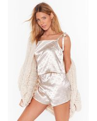 "Nasty Gal ""dot Nights Satin Pyjama Shorts Set"" - White"