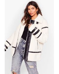 Nasty Gal Faux Fur-get What They Said Aviator Jacket - Natural