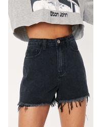 Nasty Gal Eyelet Belt Loop Distressed Denim Shorts - Black