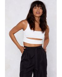 Nasty Gal Cut-out For The Count Ribbed Crop Top - White