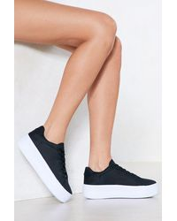 Nasty Gal Chunky Platform Lace Up Sneakers - Black
