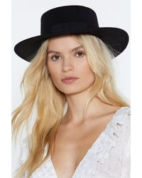 """Nasty Gal """"black Hat With Wide Brim And Flat Top"""""""