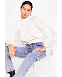 Nasty Gal All The Way Up High Neck Cropped Blouse - White