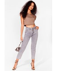 Nasty Gal Acid Wash Button Up Mom Jeans - Gray