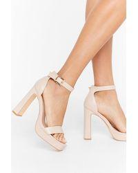 """Nasty Gal """"bring 'em To Heel Platform Heels"""" - Natural"""