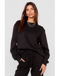 Nasty Gal Come Over Here Crew Neck Oversized Sweatshirt - Black
