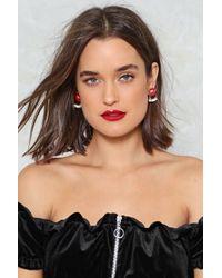 Nasty Gal - Lips Studded Diamante Earrings Lips Studded Diamante Earrings - Lyst