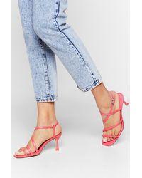 """Nasty Gal """"get Strappy Kitten Heel Sandals"""" - Multicolor"""