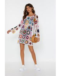 "Nasty Gal ""bright Of Way Multicolored Crochet Dress"" - White"