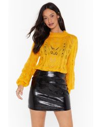 Nasty Gal You've Got A Pointelle Relaxed Sweater - Yellow