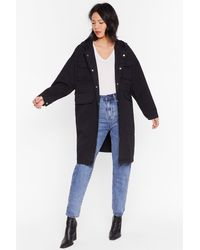 """Nasty Gal """"champagne Oversized Parka Coat With Longline Silhouette"""" - Black"""