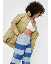 Nasty Gal Quilted Zip Through Padded Jacket - Green