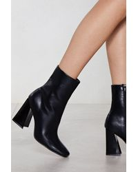 Nasty Gal Flared Block Heel High Ankle Boots - Black
