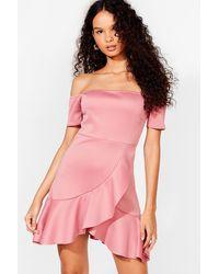 Nasty Gal Show Me Off-the-shoulder Dress - Pink