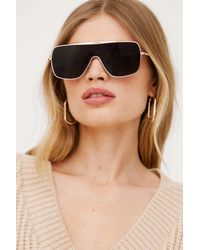 Nasty Gal Cry About It Aviator Oversized Sunglasses - Noir