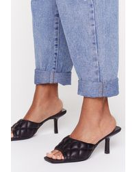 Nasty Gal Shake Quilt Up Faux Leather Kitten Heel Mules - Black