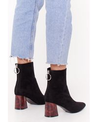 "Nasty Gal ""faux-suede Zip Ankle Boots With Block Heel"" - Black"