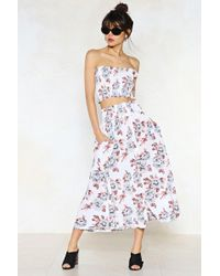 Nasty Gal | Late Bloomer Floral Crop Top And Skirt Set | Lyst
