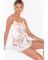 Nasty Gal Don't Wake Me Up Satin Pajama Shorts Set - Pink