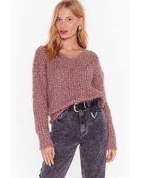Nasty Gal Knit Right In V-neck Sweater - Multicolour