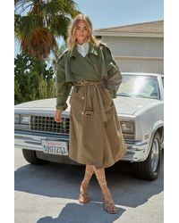 Nasty Gal Two Tone Belted Oversized Trench Coat - Natural