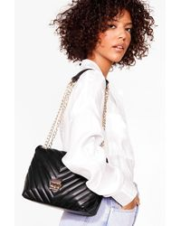 Nasty Gal Want Quilted Faux Leather Shoulder Bag - Black