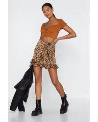 "Nasty Gal ""leopard Ruffle Wrap Mini Skirt"" - Brown"