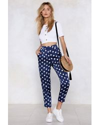 Nasty Gal - Come Round My Way Polka Dot Trousers - Lyst
