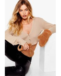 Nasty Gal Come In Handy Faux Shearling Mitten Gloves - Black
