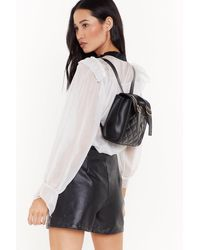 """Nasty Gal """"quilted Pu Double Buckle Mini Bag Pack"""" - Black"""
