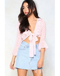Nasty Gal - Cropping Up Polka Dot Top - Lyst