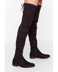 """Nasty Gal """"low Blow Over-the-knee Boots"""" - Black"""