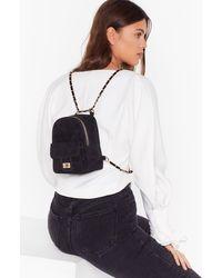 Nasty Gal Want Get In Touch Velvet Backpack - Black