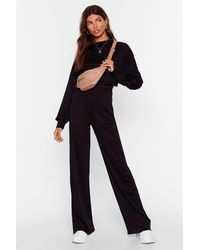 """Nasty Gal """"better Two-gether Ribbed Crop Top And Trousers Set"""" - Black"""